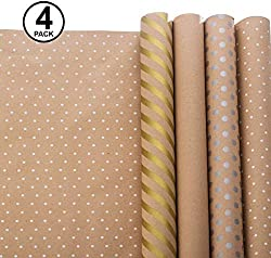 Wrapping Paper - Gift Wrapping Paper - Kraft Wrapping Paper with Polka Dots and Patterns – Gold Gift Wrap - Premium Gift Wrap - 4 Rolls - 2.5 ft x 10 ft per Roll, Includes 7 Bows, 2 Rolls of Ribbon