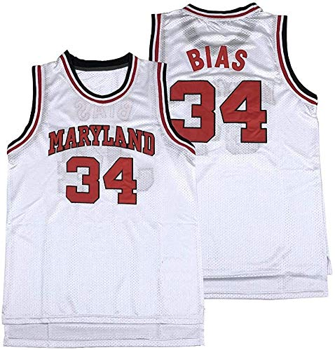 nobrand Horlohawk Men's Len Bias 34 Maryland Terrapins Movie Basketball Jersey Stitched White