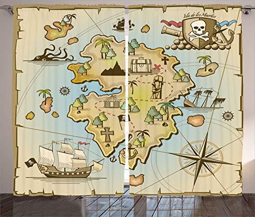 Cortinas mapa Ambesonne Island, desenho animado Ilha do tesouro pirata, peito do navio Kraken polvo infantil design náutico, sala de estar, quarto, janela, conjunto de 2 painéis, 274 x 213 cm, multicolorido