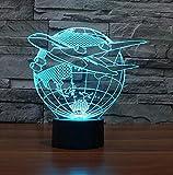 Cambio de color intermitente del sensor táctil que vuelan de Asia acrílico 3D llevó la luz de la noche llevó la lámpara de mesa Plano y Tierra del USB
