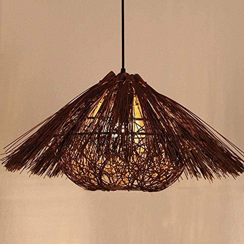 DLGGO Southeast Asia Classic Style Wood Lattice Wicker Rattan Chandelier Bamboo Ceiling Pendant Light Brown Handmade Bird's Nest House Lamp Glass Shade 1-Light For Loft Study Bedroom Dining Room 40cm