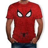 KKJKK Spiderman Costumes Anime 3D T-shirt de compression à manches courtes pour homme Running Motion Short Shirt Homme Fitness Gym Training Tops Adulte/Enfants 3D Style, Spiderman Noir Rouge(Size:M)