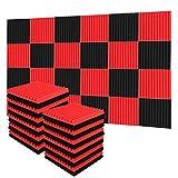 Lot de 24 Acoustique et Isolation phonique mur, Mousse isolante acoustique, Noir/Bourgogne, 30 x 30 x 2.5cm, conçu pour le traitement acoustique des homes studios et salles d'enregistrement etc.