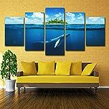 lihaohao Cinq Peintures5 Toile Art Bleu Nage en Haute Mer Poissons Peinture Murale Décoration Salon 20X35X2 20X45X2 20X55Cmx1 Aucun Cadre A