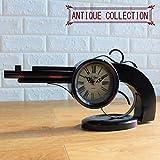 置き時計 ピストル型 アンティーク オールド 鉄砲 クロック オブジェ 置物 インテリア 時計 かっこいい おしゃれ クラシカル ギフト プレゼント