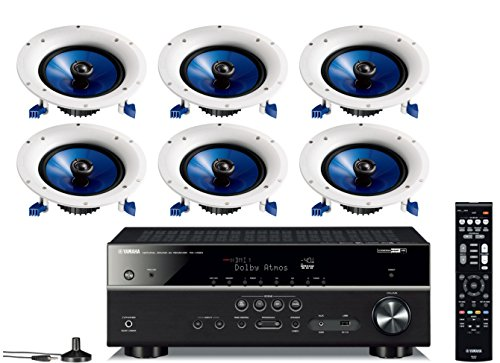 "Yamaha 7.2-Channel Wireless Bluetooth 4K Network A/V Wi-Fi Home Theater Receiver + Yamaha High-Performance Moisture Resistant 2-Way 8"" 140 watt Surround Sound in-Ceiling Speaker System (Set of 6)"