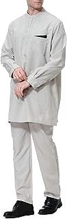 Sodossny-AU Mens Long Sleeve Solid O-Neck Muslim Arab Robe Ethnic Style