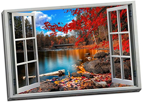 Red Autumn Forest River Art 3D Window Effect Canvas Print Picture Wall Art Large 30x20 Inches