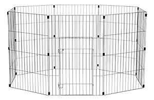 Iris Ohyama, parc pour chien / cage d'extérieur / enclos / chenil - Wire Pet Circle - 24 pouces, epoxy, noir, 1,5m², 60 x 60 cm