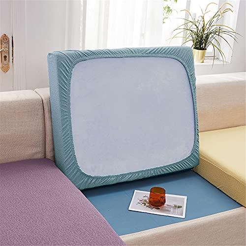 Fundas de cojín elásticas para sofá, fundas de cojín impermeables, fundas de cojín de repuesto para cojines individuales (azul claro, rectángulo-M)