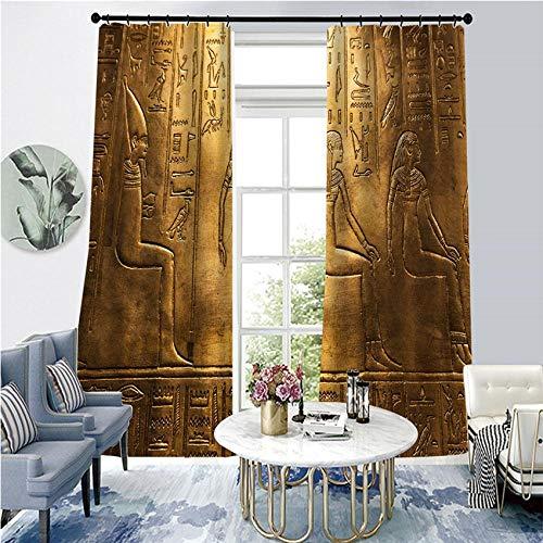 BLZQA Blickdichte Vorhänge Ösenvorhang Ägyptischer Druck Verdunkelungsvorhänge geeignet für Schlafzimmer Wohnzimmer Schalldämmung Thermisch energiesparende Vorhänge 75 cmx 166 cm x 2