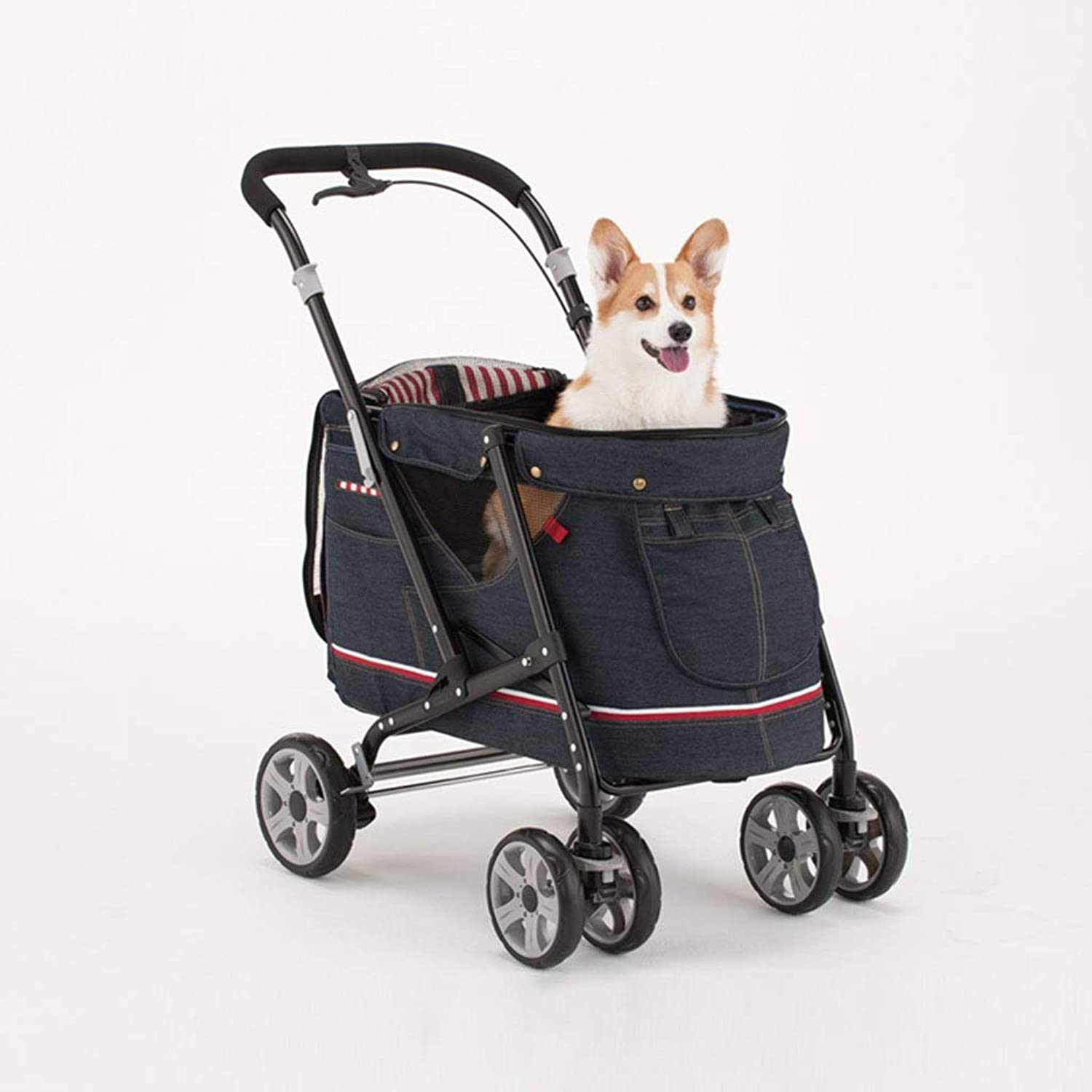 MIAOLIDP Pet stroller  large and medium dogs and cats  out of the foldable  portable stroller  sunscreen Pet cat carrier (Size   580x890x970mm)