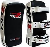 正規品 RDX レザー 革 キックミット カーブ 片手1個 ボクシング キックボクシング ムエタイ 格闘技 MMA 空手 各色 1個 (ホワイト)