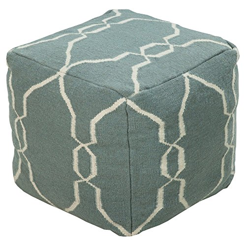 Surya 18 in. Rosenwald Cube Wool Pouf