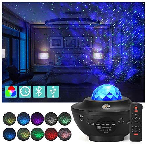LED Projector Light Starry Night Night Light, Proyector Giratorio de Luz Estelar, LED Cambiar Color Reproductor de Música con Bluetooth y Temporizador Lámpara Luces Nocturnas de Nebulosa