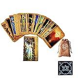 Cartas de Tarot de Oracle de Las Hadas 66 Piezas Deck Friends Family Party Playing Holiday Happy Board Game Tarjetas de Regalo,with Tablecloth + Bag,Tarot Cards