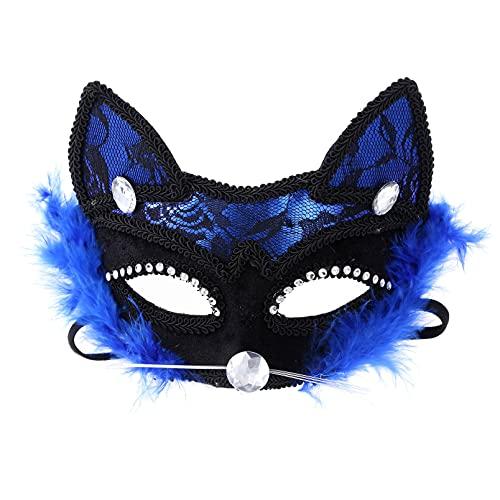 dPois Mscara de Disfraces para Mujer Sexy Mscara de Encaje Negro Mscara Veneciana de Diamantes de imitacin para Halloween Carnaval Fiesta de Baile Mscara Azul One Size