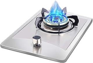 Placa de gas Olla Acero inoxidable estufa a gas, Cocinar portátil Encimera, de sobremesa / Embedded sola olla, con la protección de Apagado, fácil de limpiar, compatible con todos los utensilios [Clas