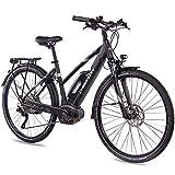 CHRISSON 28 Zoll Damen Trekking- und City-E-Bike - E-Actourus schwarz matt - Elektro Fahrrad Damen - 10 Gang Shimano Deore Schaltung - Pedelec mit Performance Line Mittelmotor 250W 63Nm