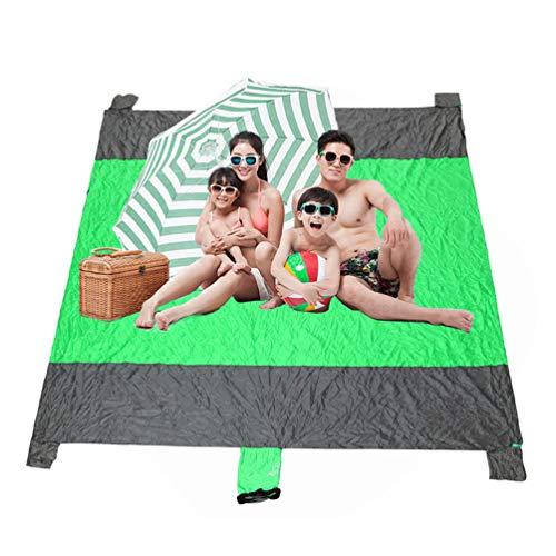 Couverture de plage imperméable, résistante au sable portable et facile à plier en nylon pour extérieur, grand tapis pour voyage, randonnée, camping Vert