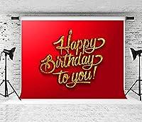 HD7x5ftお誕生日おめでとう写真の背景ゴールデンお誕生日おめでとう赤い背景お祝いの誕生日の背景