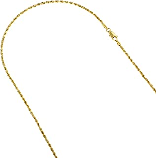 14K White or Yellow Gold 2mm Wide Rope Hollow Chain Necklace Lobster Clasp (16,18 or 20