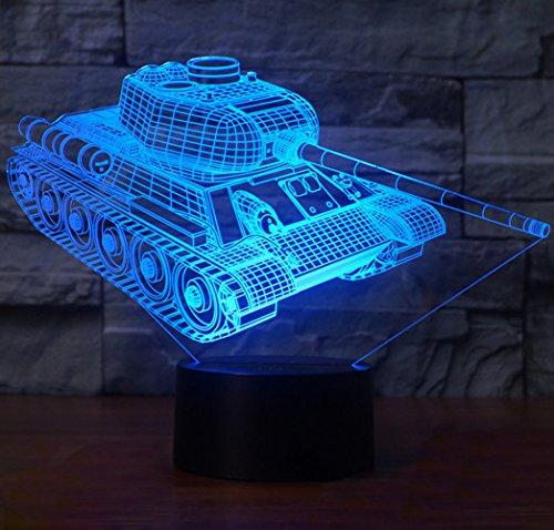 3D Illusion Lampene, KEEDA LED Touch Schreibtisch Lampe, Tischlampe Licht, LED Nachtlicht Kinder Dimmbar, 7 Farben Einzigartige Lichteffekte (Panzer)