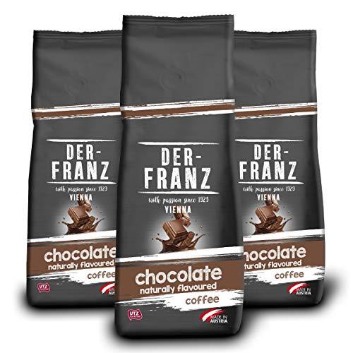 Der-Franz Kaffee, aromatisiert mit natürlicher Schokolade UTZ, ganze Bohne, 3x500g