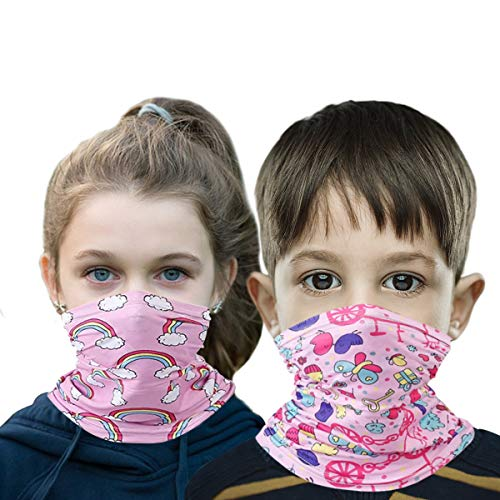 2 Packs Kids Polyester Protective Masks Face/Neck Cover Scarf Sports Outdoor Softness Neck Gaiter For Boys And Girls (Pink rainbow/butterfly)