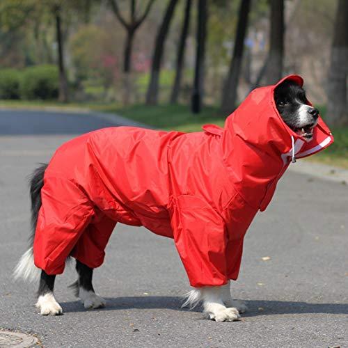 KUANDARMX Chubasquero para Perros Chubasquero con Capucha Ropa para Perros Chubasquero para Mascotas Perro Mediano y Grande Impermeable y fácil de Limpiar, Red, 26