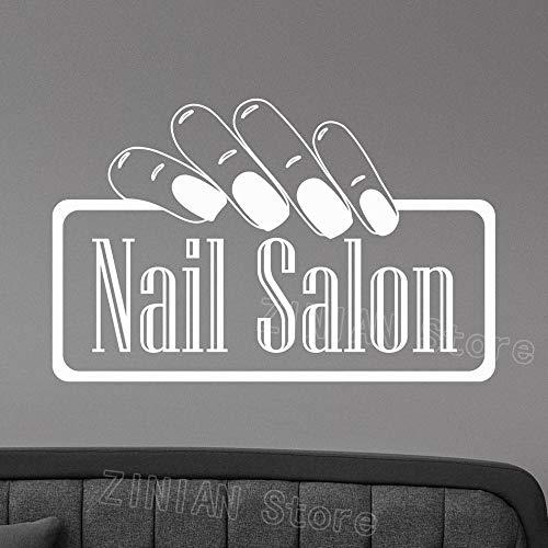 Nail Salon Logo Tatuajes de Pared de Vinilo Etiqueta de la Ventana Manicura Moda Arte Decoración para Oficina SPA Belleza Salón de Belleza Decoración de la habitación Gris 66X42 cm