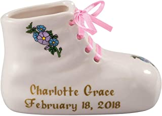 """Porcelain Personalized Baby Bootie Heirloom–Pink Girl-Customize Ceramic Baby Shoe Keepsake with Baby Name, Birth Date, Time, Weight and Length–Birth, Baptism or Christening Gift-4"""" Long by 2"""" Wide"""