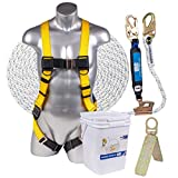 Palmer Safety Fall Protection Roofing Bucket Kit I Full-Body Harness, 50' Vertical Rope & Anchor Set