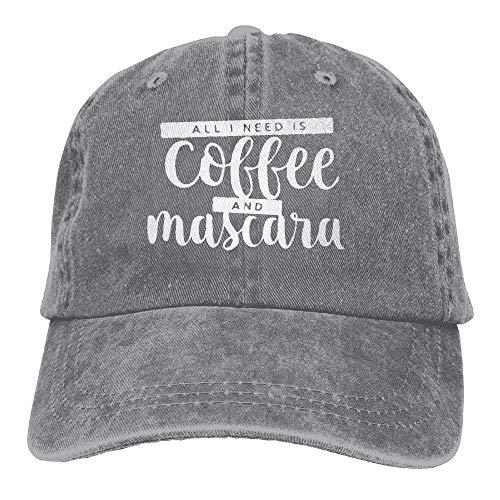 FunnyStar Alles wat ik nodig heb Is Koffie en Mascara Unisex Denim Jeanet Honkbalpet Verstelbare Jacht Cap Voor Mannen Of Vrouwen