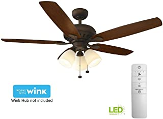 Hampton Bay Rockport 52 in. LED Indoor Oil Rubbed Bronze Smart Ceiling Fan with Light Kit and WINK Remote Control