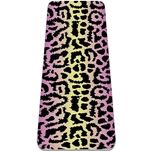 Esterilla antideslizante para yoga con textura de leopardo, respetuosa con el medio ambiente, de TPE gruesa, ideal para pilates, yoga y muchos otros entrenamientos en el hogar, 183 x 61 x 0,6 cm