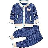 Miyanuby Bebé Niña Niño Cárdigan Suéter Abrigos Invierno Otoño Polar Cálido Abrigo De Dibujos Animados + Cintura Elástica Pantalones Ropa para Bebés Niños Niñas 1-3 Años