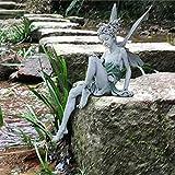 Elfen Figuren Deko, Harz Sitzende Fee Portrait Garten Statue für Home Office Schreibtisch Tisch, Garten Ornamente Outdoor, Sitzend Elfen Gartendeko Figuren (A)