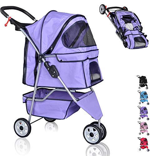 Pet Stroller for Small Medium Dogs & Cats,Folding Dog Stroller Carrier Strolling Cart,3 Wheel Travel Jogger Cat Stroller with Removable Liner,Cup Holders,Weather Cover and Large Storage Basket,Purple