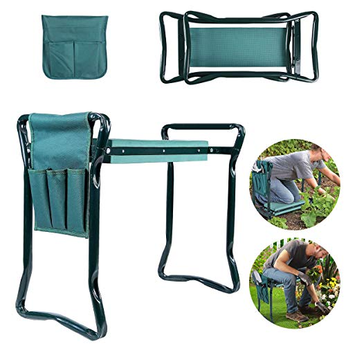 Wodesid Garden Kneeler and Seat Bench Stools Foldable Stool with Free Tool Bag Pouch EVA Foam Pad Protects Your Knees Outdoor Portable Kneeler for Gardening 300 lb Large Loading Capacity