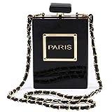 LETODE Women Acrylic Bag Black Paris Perfume Shape Evening Bags Purses Clutch Vintage Banquet Handbag (BLACK)