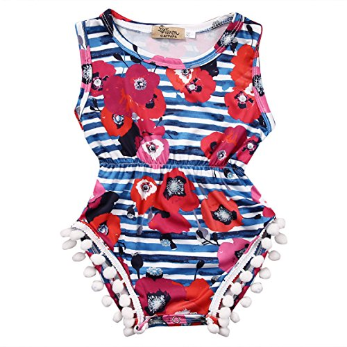 Baby Girls Cute Adorable Floral Romper Sleeveless Romper Jumpsuit Striped Outfit Climbing Clothes (6-12 Months, blue)