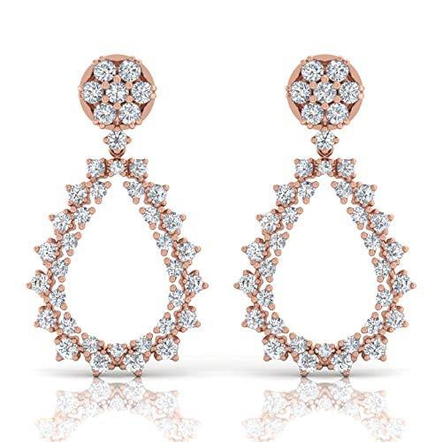 Spectrum Jewels Hola color de Si la claridad del diamante Los pendientes de gota cuelga la joyería 18K sólido hecho a mano para Unisexadulto Multicolor