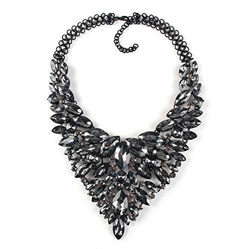 YAZILIND Lujo Rhinestone Colgante Collares Gruesos Exquisita joyería Regalo de cumpleaños de Las Mujeres (Gris)