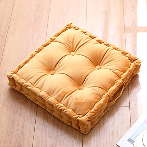 Wadser Tufted Velvet Floor Cushion, Square Thick Seating Cushion with Carrying Handle, Patio Meditation Pillow Tatami Chair Pads, 18'x18'x5', Yellow