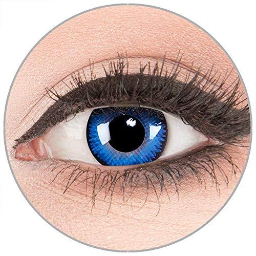 Farbige Kontaktlinsen zu Fasching Karneval Halloween in Topqualität von 'Glamlens' ohne Stärke 1 Paar Crazy Fun blaue schwarze 'Space Blue' mit Behälter
