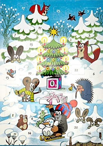 Der kleine Maulwurf feiert Weihnachten: Adventskalender zum Aufstellen mit Glimmer. 21 x 30 cm.