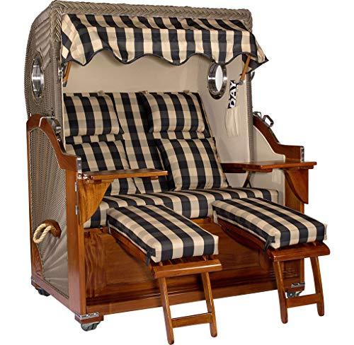 Luxus Mahagoni XXL Strandkorb Volllieger für 2 Personen aus Hartholz Grau-Beige Kariert - Aufgebaut und Einsatzbereit Strandkorbwelt365