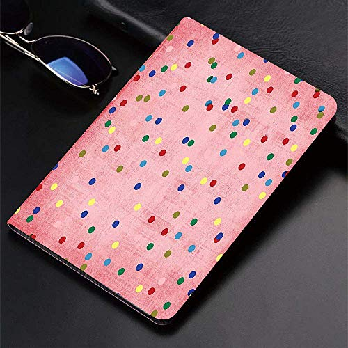 Case for iPad (9.7-Inch, 2018/2017 Model, 6th/5th Generation)Ultra Slim Lightweight Smart Cover,Spots,Retro Classic Spots Design with Circles Geometric Pink Background Ima,Smart Covers Auto Wake/Sleep