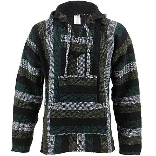 Sudadera con capucha, bolsillo frontal y cordones estilo Hippy, color verde menta verde verde Medium